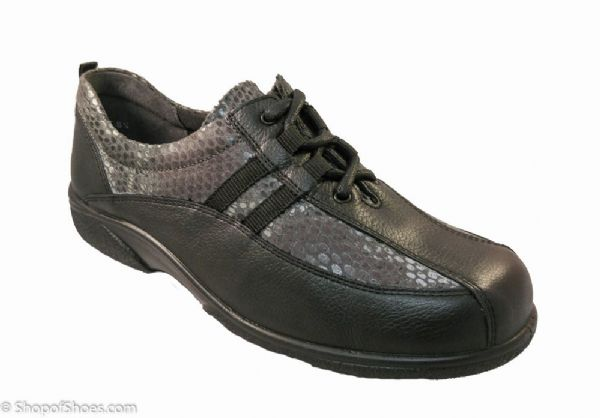 Angers Ladies classic lace shoe with the added class of snake print. Adaptable wide fit Shoe EE-4E
